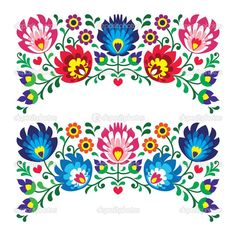 Paper Embroidery Patterns Paper Embroidery Patterns And Instructions. Paper Embroidery Patterns Polish Floral Folk Embroidery Patterns For Card. Mexican Embroidery, Hungarian Embroidery, Folk Embroidery, Paper Embroidery, Learn Embroidery, Hand Embroidery Patterns, Embroidery Stitches, Machine Embroidery, Embroidery Designs
