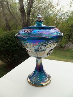 Vintage Indiana Harvest Grape Blue Carnival Glass Covered Compote/Candy Dish - I have two of these complete, and one lidless Art Antique, Antique Dishes, Vintage Dishes, Fenton Glassware, Antique Glassware, Vintage Candy, Vintage Carnival, Blue Carnival Glass, Indiana Glass