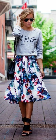 New York Casual Look Bright Floral Skirt and Long Sleeve Shirt Unusual Style.