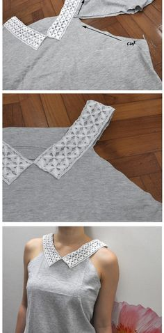 Head-Turner cut up shirts, old shirts, revamp clothes, sewing clothes, diy clothes Revamp Clothes, Make Your Own Clothes, Sewing Clothes, Clothes Refashion, Zerschnittene Shirts, Cut Up Shirts, Lace Shirts, Diy Lace Shirt, Tee Shirt Dentelle