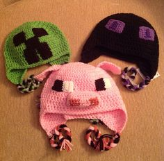 2014 Diy Halloween Minecraft Enderman Crochet Hat Pattern - Creeper, Pig #2014 #Halloween