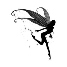 Catch a Falling Star Tattoo - $12.00 : Fairy Silhouette Art by Julie Fain, Fairy Art, Fantasy, Mermaid, Dragon, Faery, Unicorn Art Prints for Sale, dark gothic fairy art found on Polyvore
