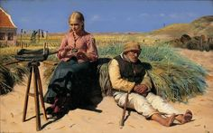 Michael Ancher - Figures in a landscape. Blind Kristian and Tine among the dunes,1880
