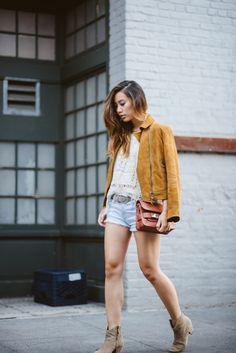 Neon Blush, suede jacket, suede Coach jacket, camel colored jacket, Current Elliott denim shorts, fringe knit top, Proenza Schouler PS11 min...