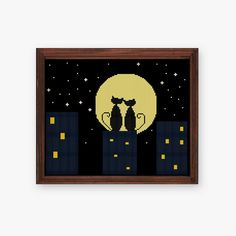 Cats in Starry Night cross stitch pattern modern by ThuHaDesign