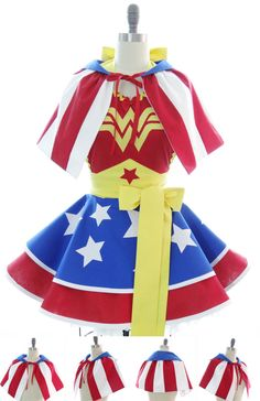 Retro Apron & Capelet - Wonder Woman Sexy Womans Aprons - Vintage Apron Style - Superhero Pin up with Capelet Rockabilly Cosplay