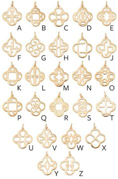 Clover Alphabet Charm - Gold by Stella & Dot are custom designed so that each letter is subtly incorporated into our favorite clover shape. Wear as an initial charm or simply for the unique design.