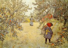 I am completely in love with Carl Larsson's art... the touch of red in nearly every one is my favorite...