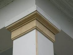 Replacing A Wood Porch Post The column capital or top molding is comprised of three piece of material: a 22 square block x 6 window stop Porch Pillars, Front Porch Columns, Front Porch Posts, Deck Posts, Front Deck, House With Porch, House Front, Porch Makeover, Woodworking