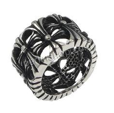 Edelstahl Fingerring, hohl & Schwärzen, 15mm, Größe:7, 10Stücke/Gruppe, verkauft von Gruppe - perlinshop.com