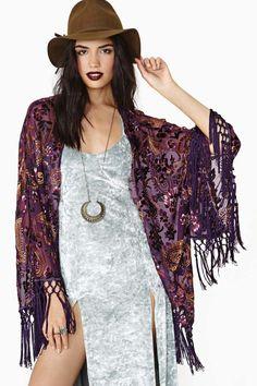 Reverse Sweet Worship Velvet Fringe Kimono - er, I need this.