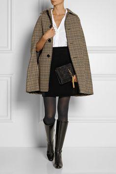 Saint Laurent Houndstooth wool-blend cape NET-A-PORTER.COM