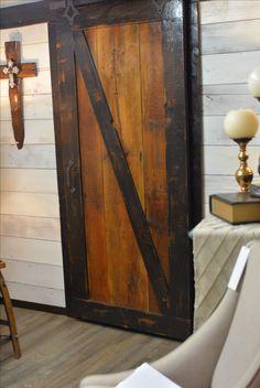 Single gliding barn wood door. #BarnwoodRustics #Barnwooddoor #Reclaimedwood #HomeDecor Wood Doors, Barn Wood, Armoire, Furniture, Home Decor, Wooden Doors, Clothes Stand, Wood Gates, Decoration Home