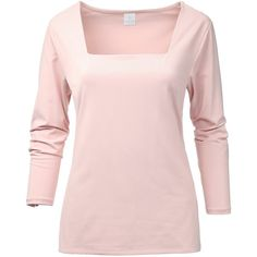 Top via Polyvore featuring tops, jersey knit tops, long sleeve tops, pink top, square neck long sleeve top and square neck top