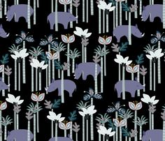 Rhino Jungle fabric by daughter_earth on Spoonflower - custom fabric