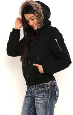 Hollister Bomber Jacket with Fur Trim Hood ($135) ❤ liked on ...
