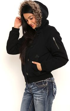DOUBLDO Womens Sherpa Faux Fur Lined Fur Detail Hooded Bomber ...