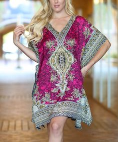 Love this Pink & Blue Arabesque Caftan on #zulily! #zulilyfinds
