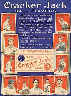 CONFECTION with Trading Cards: 1914 Cracker Jack Advertisement. Cracker Jack offers 176 baseball trading cards. Eat  Cracker Jacks.