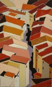 """http://chalang.wordpress.com .""""Provence"""" mix media on caneva by Chantal Lang"""