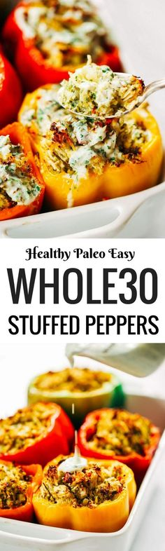 Ranch stuffed bell peppers. A quick whole30 and paleo meal for the whole family! Stuffed with cauliflower rice, shredded chicken, spicy jalapeno and cilantro sauce. Easy whole30 dinner recipes. Easy whole30 dinner recipes. Whole30 recipes. Whole30 lunch. Whole30 meal planning. Whole30 meal prep. Healthy paleo meals. Healthy Whole30 recipes. Easy Whole30 recipes. Easy whole30 dinner recipes.