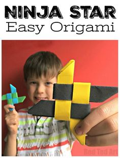 Easy Origami Ninja Star (Shuriken) - Love paper crafts for kids. Here is a fun Origami for boys and girls alike. Learn how to make your own NINJA stars!