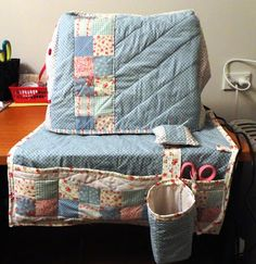 Sewing machine cover and mat with pin cushion and thread catcher
