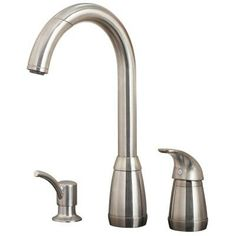 Pfister - Contempra Pull-Down Kitchen Faucet - Stainless Steel - 526-50SS - Home Depot Canada   - sprayer pulls down from faucet head, soap dispenser and water controls are lever, to the right of faucet, not behind. A+ LOVE THIS! my top 3!