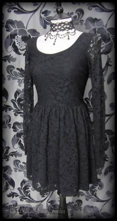 Gothic Rose Black Lace Long Sleeve Skater Dress 8 Vintage Victorian Goth Lolita | THE WILTED ROSE GARDEN