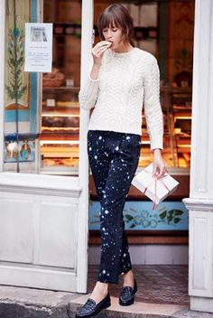 Street Style: Claudie Pierlot (designer): knitted sweater + pants + loafers : effortlessly chic