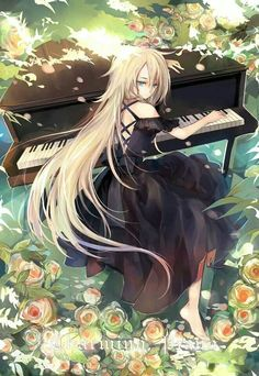 ✮ ANIME ART ✮ music. . .musician. . .piano. . .pianist. . .forest. . .flowers. . .sunlight. . .nature. . .long hair
