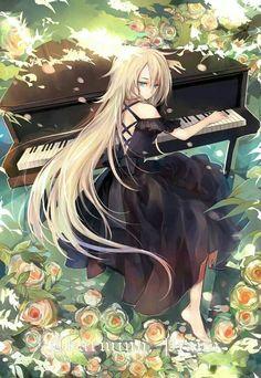 ✮ ANIME ART ✮ music. . .musician. . .piano. . .pianist. . .forest. . .flowers. . .sunlight. . .nature. . .long hair. . .gothic dress. . .kawaii