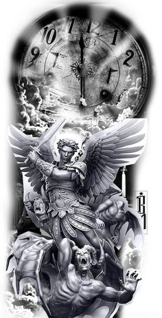 Top Canvas Designs Art Wallpaper Images for Womens Angel Tattoo Designs, Tattoo Sleeve Designs, Tattoo Designs Men, Sleeve Tattoos, St. Michael Tattoo, Archangel Michael Tattoo, Skull Tattoos, Forearm Tattoos, Body Art Tattoos