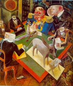 """Sonnenfinsternis"" George Grosz (1893-1959) was a German artist known for his caricatural drawings of Berlin life in the 1920s. He was a prominent member of the Berlin Dada  New Objectivity group during the Weimar Republic.Grosz did much to create the image most have of Berlin and the Weimar Republic in the 1920s. Corpulent businessmen, wounded soldiers, prostitutes, sex crimes and orgies were his great subjects"