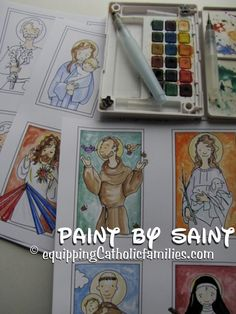 Paint by Saint! Use the black and white templates in the Saint Scripts Craft Kits to create your own stylized Holy Cards! Catholic Crafts, Catholic Kids, Catholic School, Catholic Saints, Saints For Kids, Teaching Religion, Religious Education, Art Plastique, Craft Kits