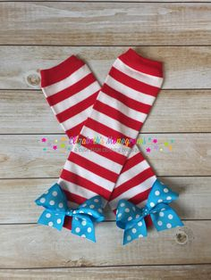 Girl's leg warmers with bows  Red and White by ElizabethsMonograms