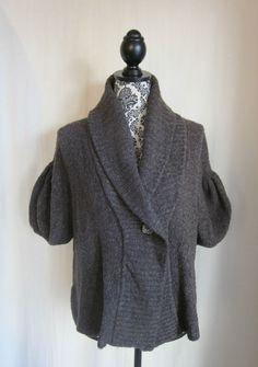 BCBGMAX AZRIA Women's Brown WOOL Blend Crop Sweater XS XSmall #BCBGMAXAZRIA #WrapSwing