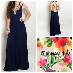 """Navy backless Maxi Dress This navy blue maxi dress is the perfect summer staple. Elegant enough to wear to a summer wedding, while sexy enough to wear on date night. 100% Rayon and 62"""" in length, hidden zipper in back. Dresses Maxi"""