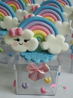 Rainbow Parties, Rainbow Theme, Rainbow Baby, Polymer Clay Projects, Polymer Clay Creations, Baby Set, Cloud Party, Diy And Crafts, Crafts For Kids