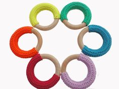 INSTANT DOWNLOAD Crochet covered wooden teething ring PATTERN on Etsy, $22.32