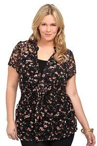 Black Floral Ditsy Lace Smocked Tie Front Top