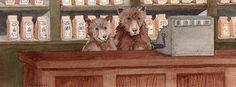 Our porridge shop with the bears tending the cash register.