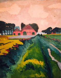 Rode boerderij. Jan Wiegers -Al voor 1920 experimenteerde Wiegers met verschillende moderne stijlen. Waarschijnlijk viel het zaad van Kirchner op een geploegde akker. Op zijn eerste Ploegtentoonstelling na zijn terugkeer naar Nederland had Wiegers een grote inzending en verbaasde hij de recensenten. Onder zijn invloed ontstond er onder de Ploegleden een min of meer collectieve stijl die tot omstreeks 1927 duurde.