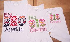 3 Piece Coming Home Sibling Shirt Set Big Bro, Big Sis and Lil Sis Multi Color Chevron