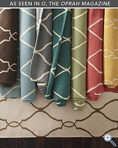Look at these colors! Bogart Flat-Weave Wool Rug - I am a fan of flat weave rugs, great for dining rooms because chairs slide easily on them and great for high traffic areas because they are reversible!