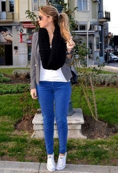 city rush  , Stefanel in Scarves / Echarpes, Massimo Dutti in Pants, Zara in Blazers, Converse in Sneakers