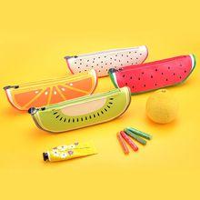 Creative cute Kawaii fruits Pencil case Watermelon Orange PU Leather Pencil Bag Children School Supplies stationery(China (Mainland))