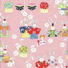 Rabbit Fabric, Alexander Henry, Japanese Princess Pink, 1 FQ. $3.25, via Etsy.