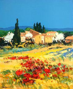 Surmontés par le bleu lisse et dense d'un ciel azur, les villages aujourd'hui identifiables ont pris de la surface, de l'assise et investissent en espaliers, collines et mamelons....