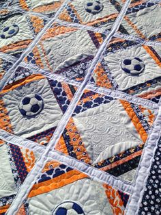 Soccer Quilt; Machine Quilting by Molly Kohler of Lovely Threads